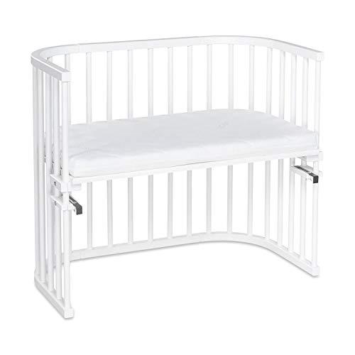 babybay Maxi 160152 cuna colecho de madera de haya maciza con colchón Classic Soft para el día y la noche | Cuna regulable en altura & ecológica | Cuna que crece con el niño, blanco