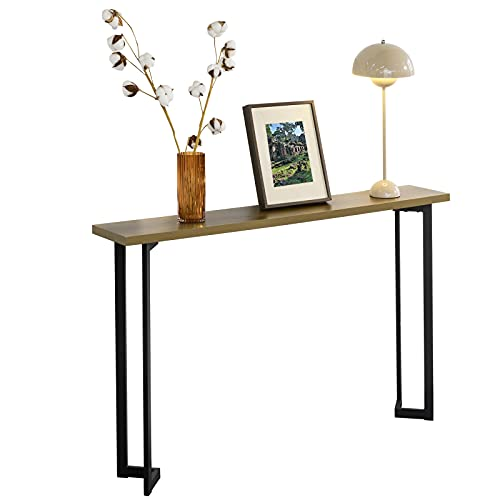 SoBuy Consolle vintage Tavolo da ingresso in metallo Tavolo decorativo Tavolino stretto Naturale e Nero, L120xP20xA75cm, FSB50-PF