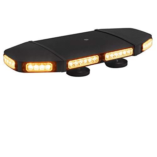 PROZOR 48 LED Notfall Warnblinklicht mit E-Mark, 21 Blitzmodi IP65 Rundumleuchte mit 4 Magnet Fuß, 144W 12V/24V Warnleuchte Bernstein, mit Digitalanzeige Steuerschalte und 5M Kabel für LKW SUV uzw
