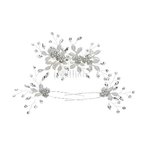 Beaupretty - Peinetas para novia, boda, fiesta, 3 unidades, diseño de flores...