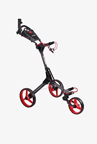 Cube CART 3 Wheel Push Pull Golf CART - Two Step Open/Close - Smallest Folding Lightweight Golf CART in The World - Choose Color! (Charcoal/Red)