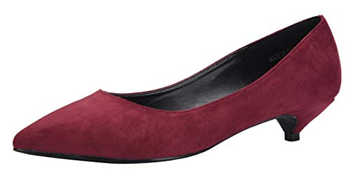 Women's Kitten Heel Shoes Ladies Mid Low Heel Court Shoes Closed Pointed Toe Heeled Wedding Party Work Evening Bridal Slip On Dress Pumps Wine red Faux Suede UK4 CN37