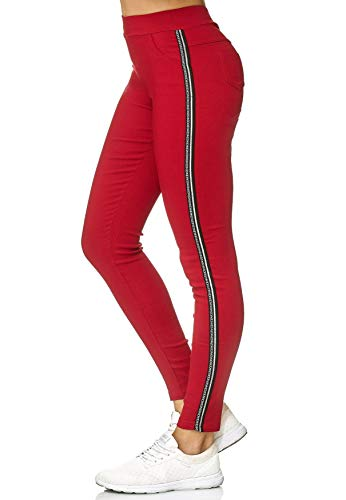 EGOMAXX Damen Treggings Kontrast Streifen Hose Trackpants Stretch, Farben:Rot, Größe:S/M