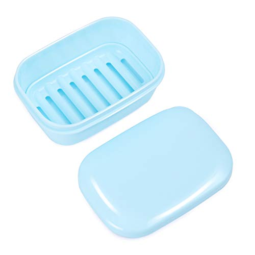 OUNONA Travel Soap Box Drain Lid Soap Holder Soap Rack Container Home Travel Outdoor Hiking Camping Gym Light Blue (Blue)