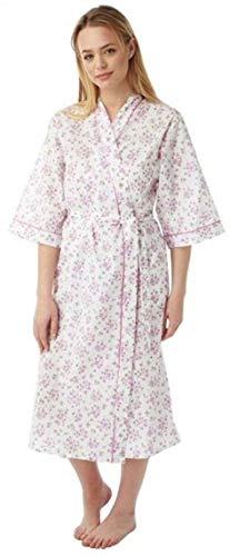 Damen-Bademantel, Poly/Baumwolle, Kimono-Stil, Blumenmuster, Rosa / Blau / Lila Größen 38-40 Gr. 38, rose
