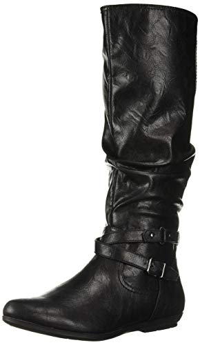 CLIFFS BY WHITE MOUNTAIN Women's Franka Knee High Boot, Black/Tumbled/Smooth, 8 Medium US