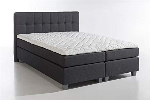 Furniture for Friends Möbelfreude® Boxspringbett Venezia Anthrazit 200x200 cm H3 mit Füßen inkl. Visco-Topper, 7-Zonen Taschenfederkern-Matratze