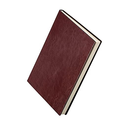 Hermoso diario cuaderno de papelería A5 grueso diario libro cuenta, cuaderno retro de cuero para pequeñas empresas, plan de horario creativo, suministros de oficina, cuaderno duradero (color marrón