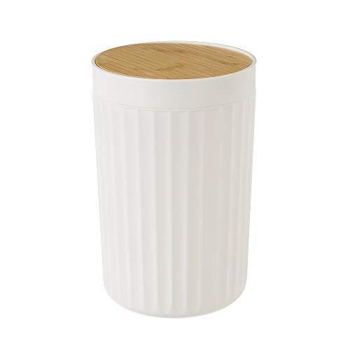 Papelera de 5 litros Blanca de bambú y PVC de Ø 18x28 cm - LOLAhome