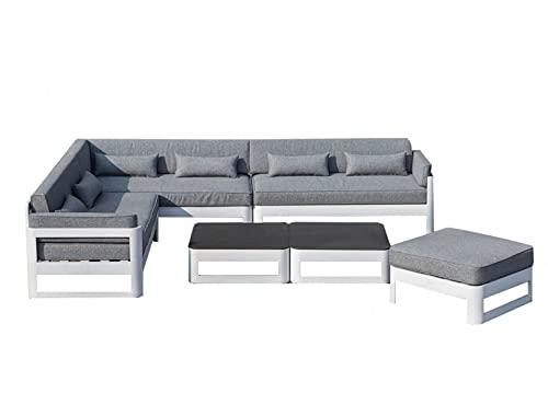 Muebletmoi - Salón de jardín 1 sofá esquinero, 1 puf y 2 mesas bajas de aluminio blanco y cojines blandos de tela gris jaspeado y tablero de cristal templado – Estilo Lounge – Laguna