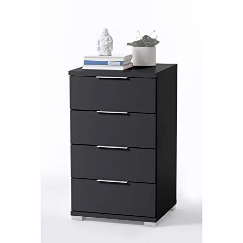 Universal Nachttisch in Schwarz - Moderner Nachtschrank mit vier Schubladen für Ihr Boxspringbett - 46 x 79 x 42 cm (B/H/T)