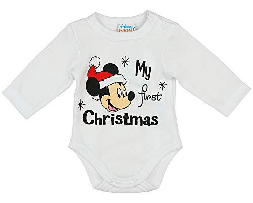 My First Christmas Baby Weihnachts-Body Junge Mädchen, Disney Mickey Mouse Größe 56 62 68 74 80 86 in Weiß und Rot Baumwolle, Mein erstes Weihnachten Farbe Modell 1, Größe 68