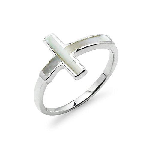 Cross Ring Sterling Silver Simulated Mother Of Pearl Size 7