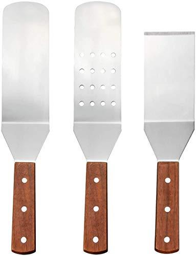 Zaleonline 3 Stück Grillpfannenwender Edelstahl Grillpfannenwender Set Grillwender Glatte und perforierte GrillPfannenwender mit Holzgriffen für Teppanyaki-Grills und Backbleche BBQ Grill
