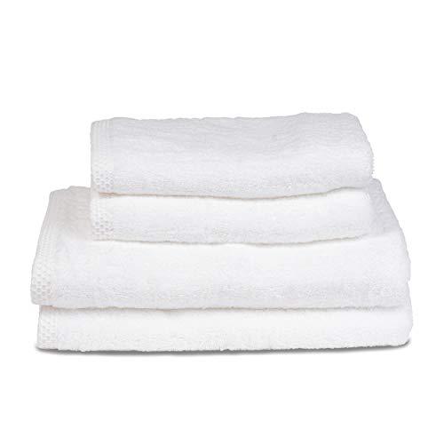 ⭐ Handtuch Set - Weiss - Badetuch Set aus 100% BIO-Baumwolle 500gr - (4-Teilig) 2 Badetüchern 70x140 - 2 Handtücher 50x80 - Saugfähig, Weich und Umweltfreundlich - Hergestellt in UE - Ökologisch