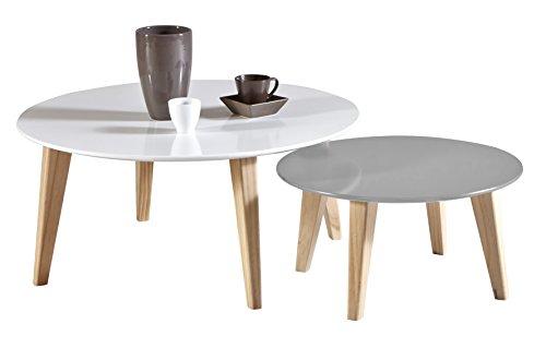Demeyere Round Set de 2 Tables Basses Coloris Blanc et Taupe, pin, 78x78x35 cm