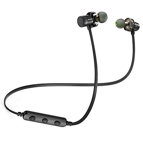 Auriculares Bluetooth, AWEI V4.2 mejor Dual Drivers Wireless Auriculares Deportivos, con micrófono impermeable HD estéreo a prueba de sudor en los oídos para gimnasio