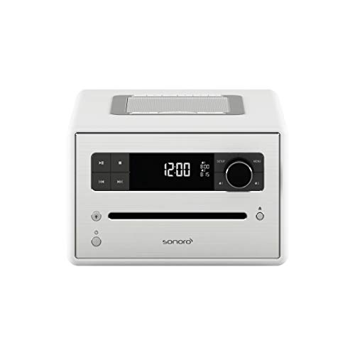 Sonoro CD 2 Design digitale radio-wekker (FM/DAB/DAB+, CD-speler, AUX-in, Bluetooth, meditatie) wit (mat)