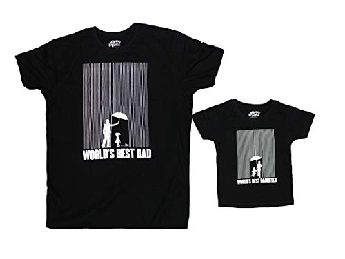 BonOrganik World's Best Daughter World's Best Father Tees Best Family Matching Dad and Daughter Tshirts Cotton T-Shirt Set for Father and Daughter(Pack of 2) (BON319-SP-BK-MG14 Dad M -Daughter 6-8Y)