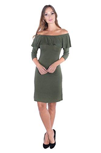 Dames off-shoulder jurk 3/4 mouw zonder bandjes maat S, M, L, XL, 2XL 3XL, 8234