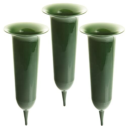 2friends Grabvase 3 Stück, Höhe 35 cm, aus Kunststoff, witterungsbeständig, dunkelgrün