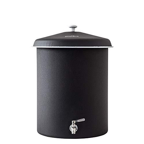 Ecofiltro Purificador Dispensador y Filtro de Agua Peltre Grande (27 L) Negro Llave de Acero