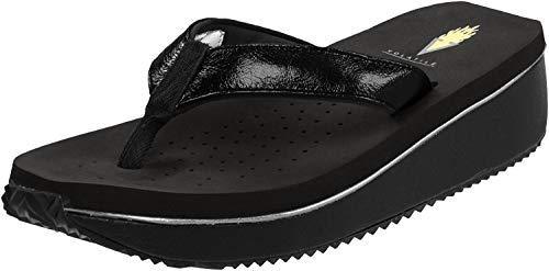 Volatile Women's Cafe Metallic Thong Sandal,Black,11 B US