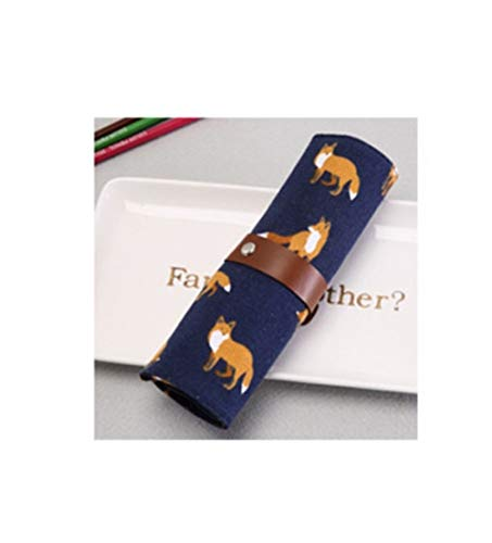 Grande Capacité 1 pcs sac de maquillage Brosse Organisateur Voyage cosmétiques sac multifonctions pinceaux de maquillage Protector Outils de maquillage Coffin Laminage Pouch (Color : Blue fox)