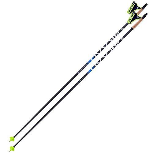 4KAAD Carbon Skistock Schwarz Code X, Generation Blau, Langlauf-Weltmeisterschaft, 100% GM Diamond Carbon, Wintergriff-Skistöcke, Ski-Wanderstöcke für Rucksackcamping (Black Blue, 130)