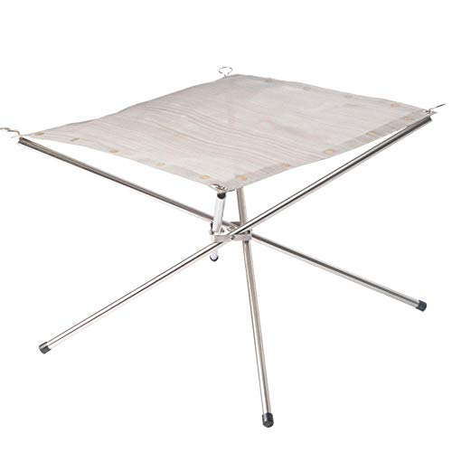 COMOOC Portable Fire Pit for Camping, Family Gathering Bonfire Portable Suit Outdoor Heating 16.5 Inch Camping Fire Pit Foldable with Carry Bag-Silver