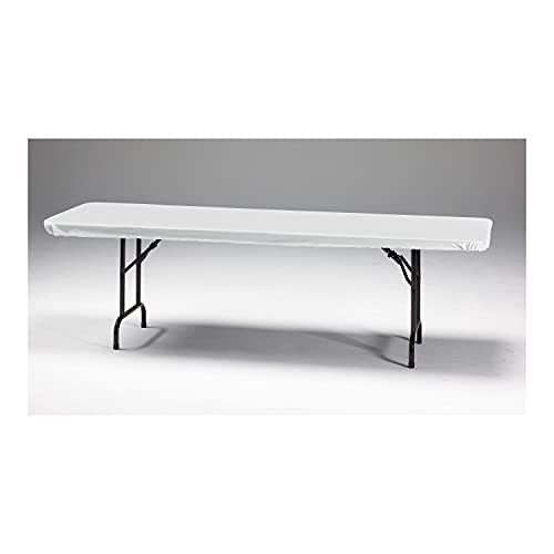 Creative Converting Banquet Table Cover Plain Classic White Stay Put Tablecover, One Size