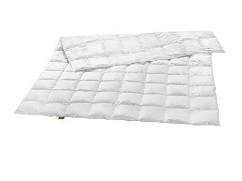 sleepling Premium Luxus Daunendecke aus 100% neuen silberweißen Gänsedaunen extra leicht (220 gr. Füllgewicht), 135 x 200 cm, weiß