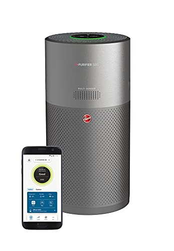 Hoover H-PURIFIER 500 - HHP55CA - Purificador aire inteligente, Difusor y biohigienizador, Multisensores, Wi-Fi, Filtro triple capa (hepa), Inactivación polen, Alertas CO, CADR 330m3/h, Gris ⭐