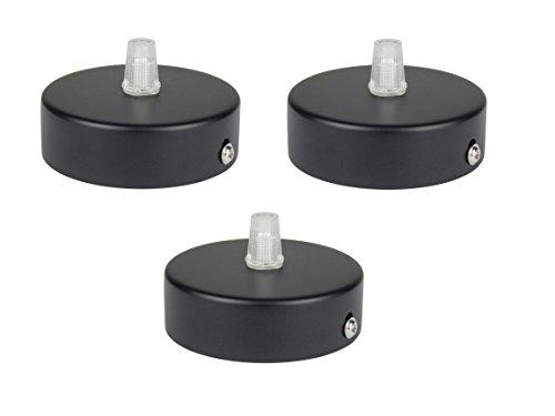 Deckenbaldachin aus Edelstahl (matt Schwarz), 80x25 mm incl. Zugentlastung Klemmnippel (Standard m10 Gewinde) zur Lampenaufhängung an der Decke(Deckenrosette/Baldachin). Anzahl: 3 Stück