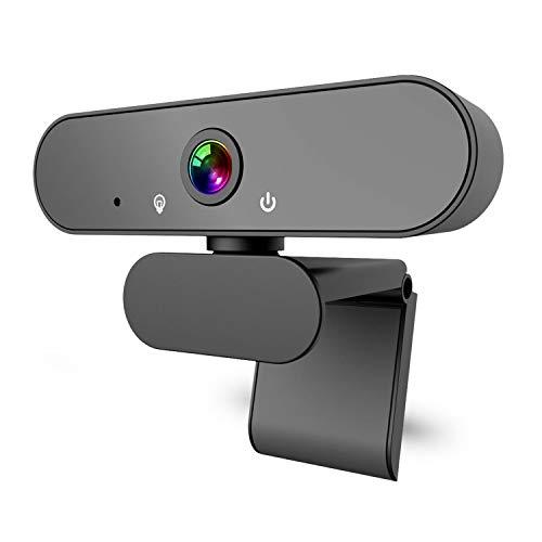 DINKALEN Webcam, Webcam 1080P Full HD Micrófono Integrado Cancelación de Ruido, Cámara Web Conecta y Reproduce con Corrección Automática de Poca Luz (Black)