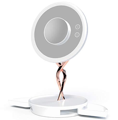 LED Miroir de maquillage 1X / 10X Grossissement, 2 couleurs claires recto-verso avec Touch Gradateur batterie et alimenté par USB 45 ° Rotation cosmétiques Beauté Portable Light Up Miroir avec support