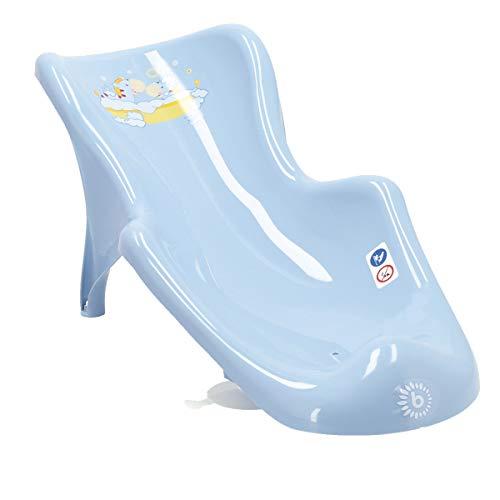 Bieco Baby Badewannensitz blau, Giraffen Motiv | anatomisch | Badesitz für Baby 0 bis 6 Monate | antirutsch Babysitz Badewanne | baby bath seat | newborn | Kinderbadesitz | Ruschstopper | Saugknopf
