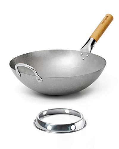 Bielmeier Wok Pan 14-inch, Traditional Hand Hammered Carbon Steel wok, Woks and Stir Fry Pans with Wok Ring (Round Bottom)