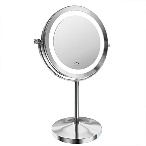 Gospire Kosmetikspiegel mit LED Beleuchtung 7 Zoll 1X/10X Vergrößerung Make Up Standspiegel Doppelseitige Schminkspiegel 360 Grad Drehbar Tischspiegel
