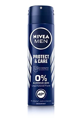 NIVEA MEN Protect & Care Deo Spray (150 ml), Deo ohne Aluminium (ACH) für ein langanhaltend frisches Hautgefühl, pflegendes Deodorant mit 48h Deo-Schutz