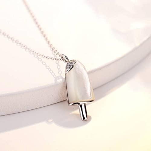 GYUFU Collar de Regalo para Mujer Verano S925 Collar de Nácar de Helado de Concha de Plata Esterlina, Joyería de Plata Femeninablanco, Plata 925