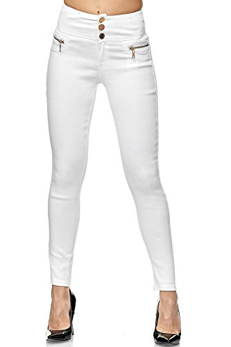 Elara Damen Stretch Hose High Waist Jeggings Chunkyrayan 2563-1 White-40 (L)