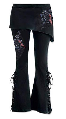 Pantaloni Gothic Donna - Leggings Gonna Donna - Elasticizzati - Vita Alta - Scampanati - Zampa - Fantasia Fiori Rosso - Rosa - Sangue - Floreale - Gotico - Sport - Sportivi - Colore Nero - Taglia L