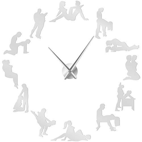 Serie de diversión para Adultos 3 Kit de Interior Moderno Arte de Pared sin Marco Relojes de Pared Grandes de Bricolaje Mute Espejo Pegatinas Decoración de Escena temática, Plata, 90 cm