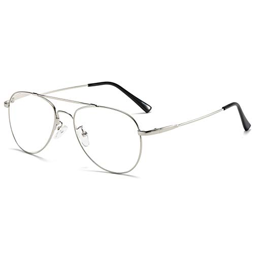 KOOSUFA Lesebrille Pilotenbrille Damen Herren Metallrahmen Lesehilfen Sehhilfe Vintage Mode Groß Brillen Leser 1.0 1.25 1.5 1.75 2.0 2.25 2.5 2.75 3.0 3.5 4.0 (Silber, 3.0)
