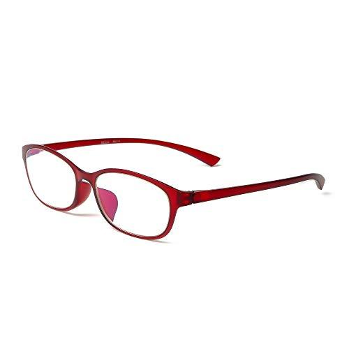 MIDI-ミディ おしゃれ 老眼鏡 ブルーライトカット 紫外線カット レッド 度数+1.00 高めの鼻パッドでまつ毛が当たりづらい 軽量 (M-210,C6,+1.00)