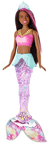 Barbie GFL83 - Dreamtopia Glitzerlicht Meerjungfrau mit braunen Haaren, Flosse mit Schwimmbewegungen und Licht, Spielzeug für die Badewanne, Puppen ab 3 Jahren