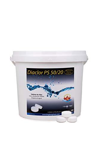 Cloro Rápido Piscinas Pequeñas - DIACLOR PS 50/20 5 KG - 250 Pastillas de Cloro Rápido (20 gr) - Tratamiento de Choque - Especial Piscinas PEQUEÑAS