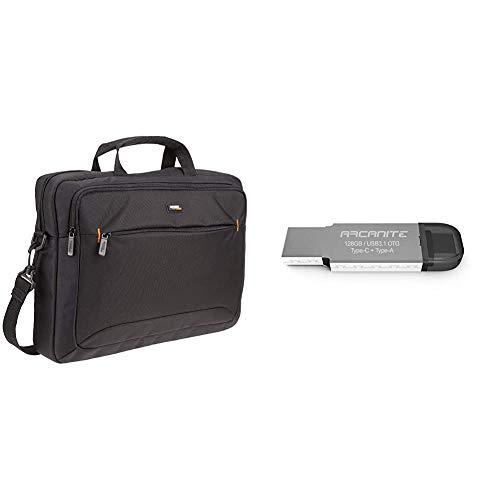 AmazonBasics Laptop- und Tablet-Schultertasche, für Laptops bis zu 15,6 Zoll (40 cm), Schwarz, 1 Stück + ARCANITE 128GB USB 3.1 OTG Typ C + Typ A Dual Flash Drive, AKT7128G