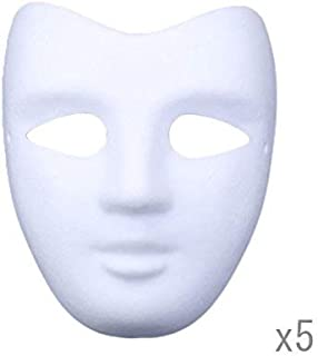 Meimasks DIY White Paper Mask Pulp Blank Hand Painted Mask Personality Creative Free Design Mask 5pcs (V face)